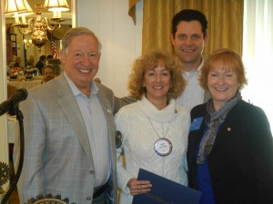 Pictured (l-r) are  Larry Smoose, Media Rotary president; Julie Shopa; District 7450 Governor Chad Rosenberg; and Rotary International Director Julia Phelps.